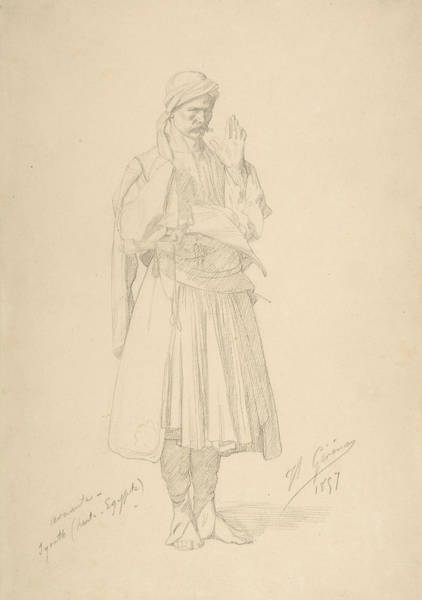 Jeans Drawing - Arnaut Officer In Prayer by Jean-Leon Gerome