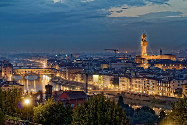 Photograph - Arno River At Night by Adam Rainoff