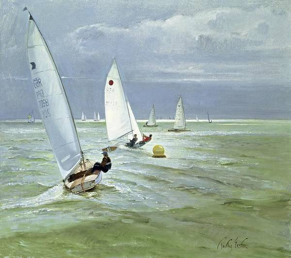Racer Painting - Around The Buoy by Timothy Easton