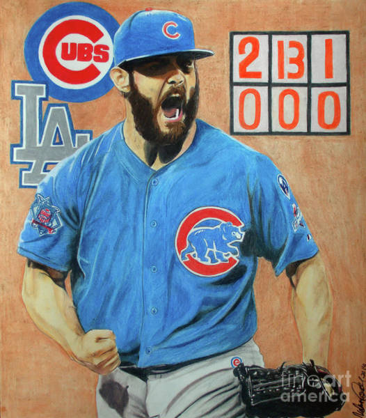 Drawing - Arrieta No Hitter - Vol. 1 by Melissa Jacobsen