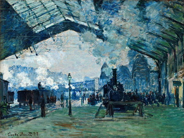 Railroad Station Painting - Arrival Of The Normandy Train, Gare Saint Lazare 1877 by Claude Monet