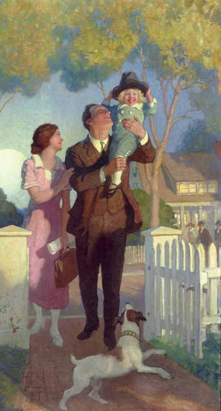 White Picket Fence Painting - Arriving Home by Newell Convers Wyeth