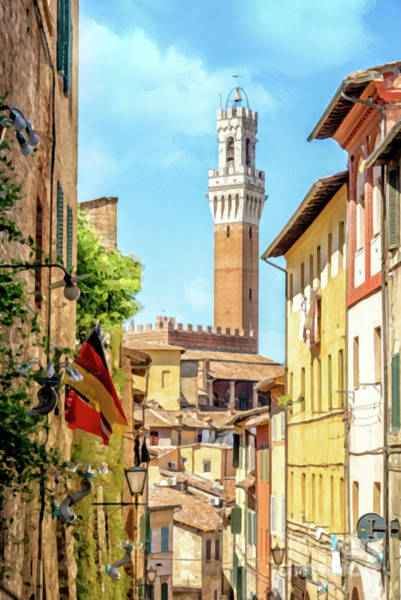 Narrow Street Painting - Arriving In Siena by Delphimages Photo Creations