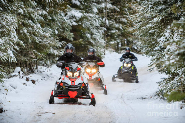 Photograph - Arrowhead Snowmobilers by Lori Dobbs