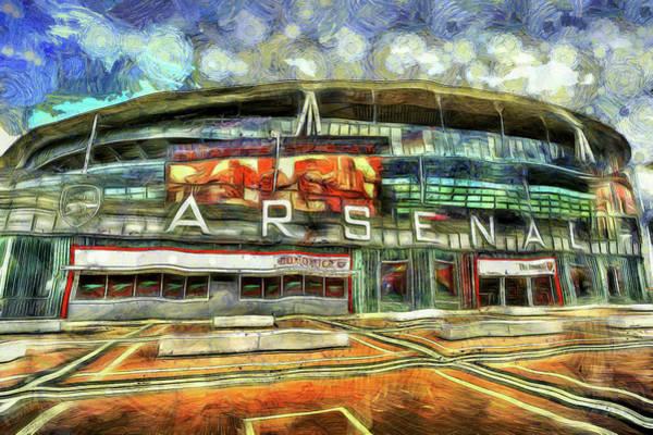 Wall Art - Mixed Media - Arsenal Fc Emirates Stadium London Art by David Pyatt