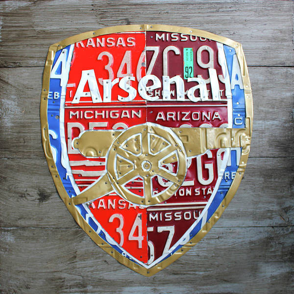 Emblem Mixed Media - Arsenal Football Team Emblem Recycled Vintage Colorful License Plate Art by Design Turnpike