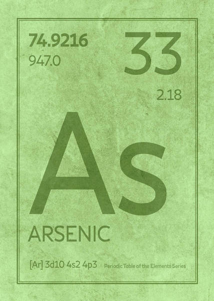 Elements Mixed Media - Arsenic Element Symbol Periodic Table Series 033 by Design Turnpike