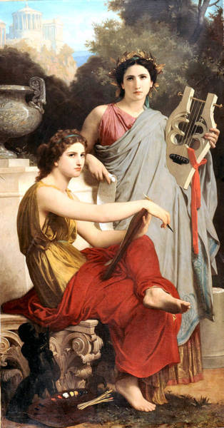 Painting - Art And Literature 1867 by William Bouguereau