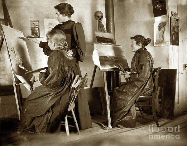 Photograph - Art Class Oil Painting Teacher  And Art Students 1900 by California Views Archives Mr Pat Hathaway Archives