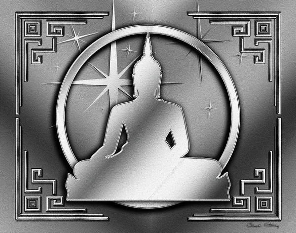 Digital Art - Art Deco Buddha - Stars - B W by Chuck Staley
