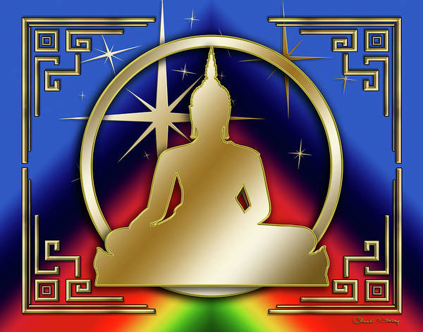 Digital Art - Art Deco Buddha - Stars - Blue by Chuck Staley