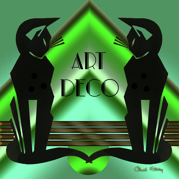 Digital Art - Art Deco Cats - Emerald by Chuck Staley