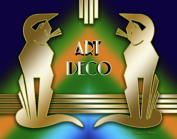 Digital Art - Art Deco Cats - Gold by Chuck Staley