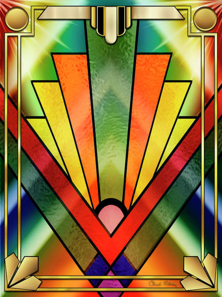Digital Art - Art Deco Chevron 2 V by Chuck Staley