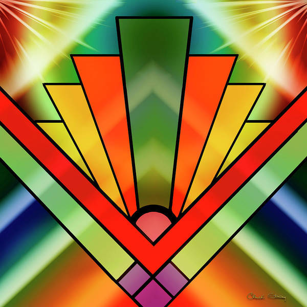 Digital Art - Art Deco Chevron 2 A by Chuck Staley