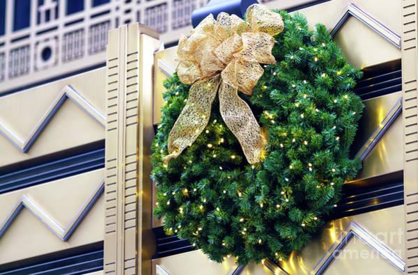 Photograph - Art Deco Christmas Wreath New York City by John Rizzuto