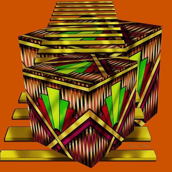Digital Art - Art Deco Cubes 2 - Transparent by Chuck Staley