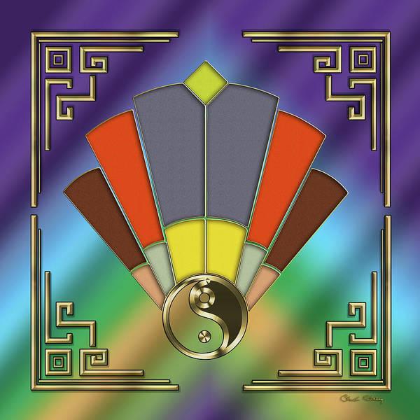 Digital Art - Art Deco Fan 10 - Yin Yang by Chuck Staley