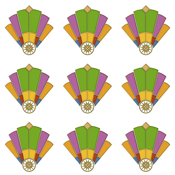 Digital Art - Art Deco Fan 2 Multiview by Chuck Staley