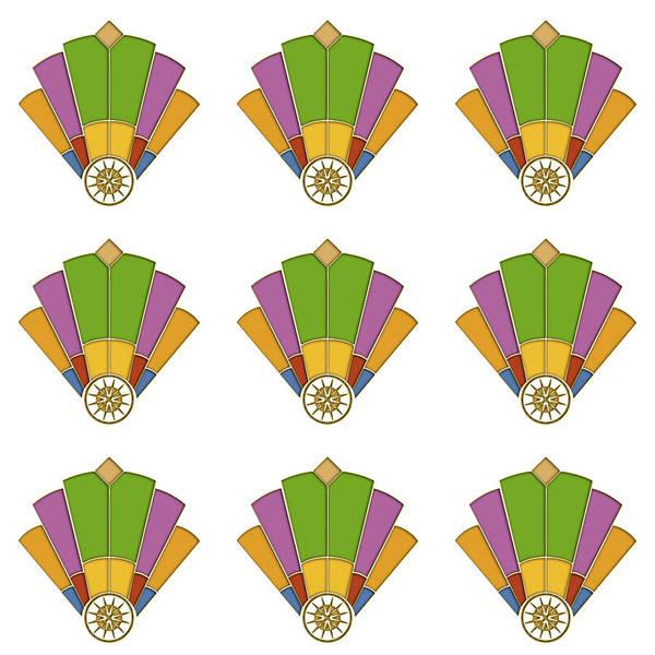 Purple Rose Digital Art - Art Deco Fan 2 Multiview by Chuck Staley