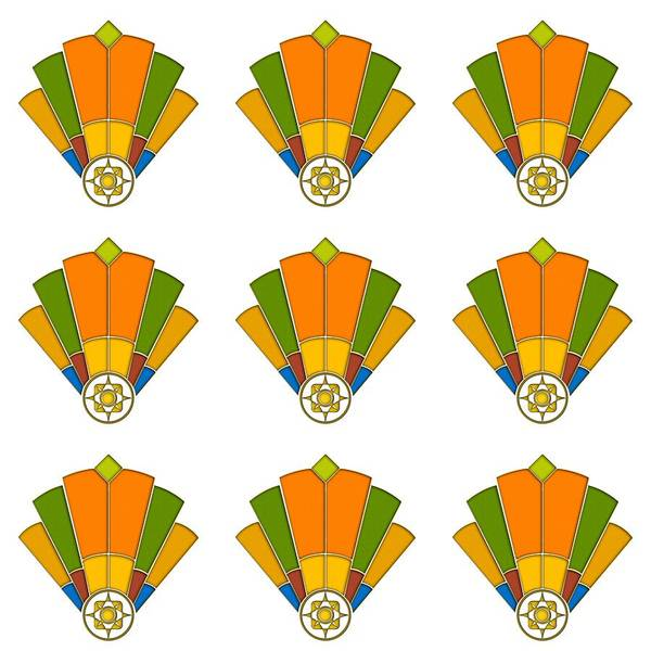 Digital Art - Art Deco Fan 8 Multiview by Chuck Staley