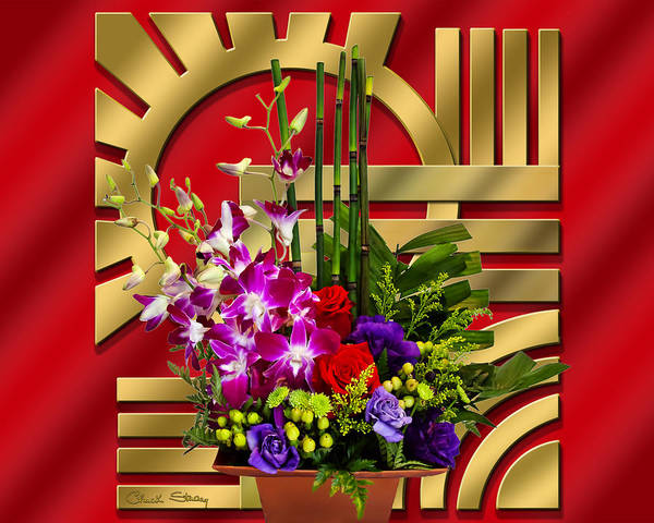 Digital Art - Art Deco Floral by Chuck Staley