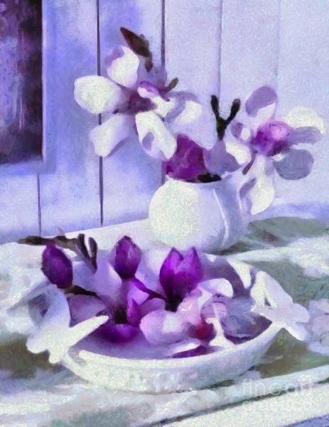 Painting - Art Floral Purple Lavendar A Dreamy Version by Catherine Lott