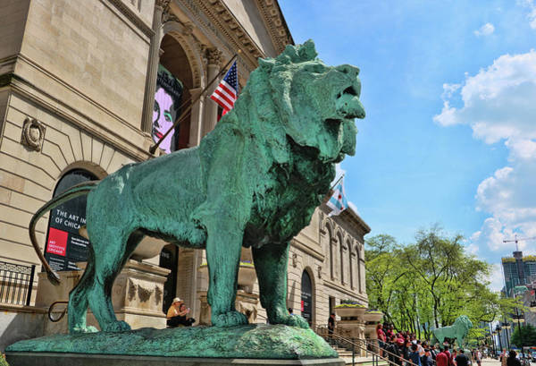 Photograph - Art Institute Of Chicago Lion - Southside by Allen Beatty