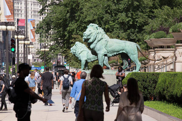 Aic Wall Art - Photograph - Art Institute Of Chicago Bronze Lions by Russell Ingram