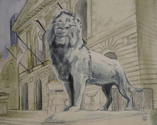 Aic Wall Art - Painting - Art Institute Of Chicago Lion by Jeffrey Oleniacz