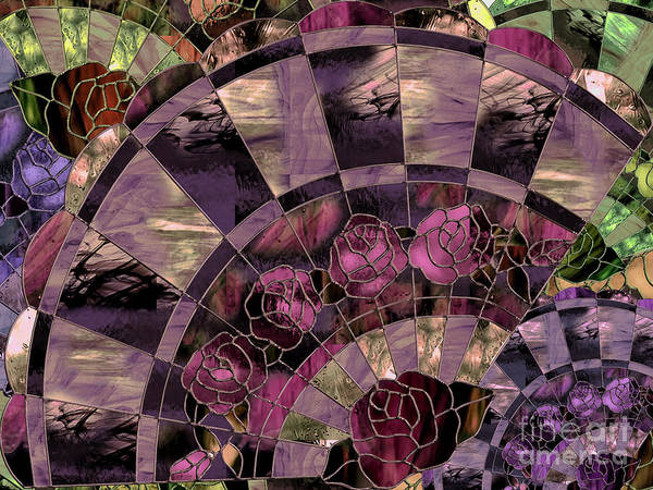 Leaded Glass Painting - Art Nouveau Stained Glass Fan by Mindy Sommers