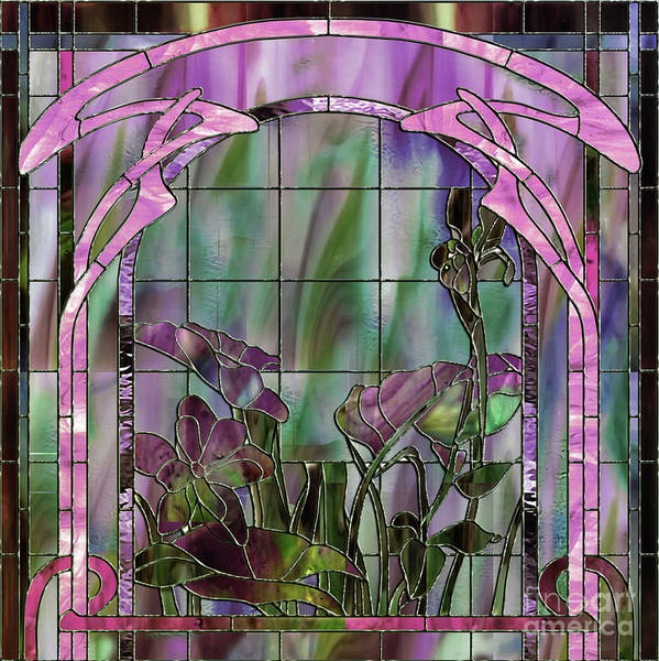 Leaded Glass Painting - Art Nouveau Stained Glass Panel by Mindy Sommers