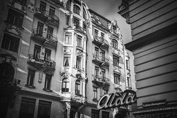 Vienna Wall Art - Photograph - Art Nouveau Vienna In Black And White  by Carol Japp