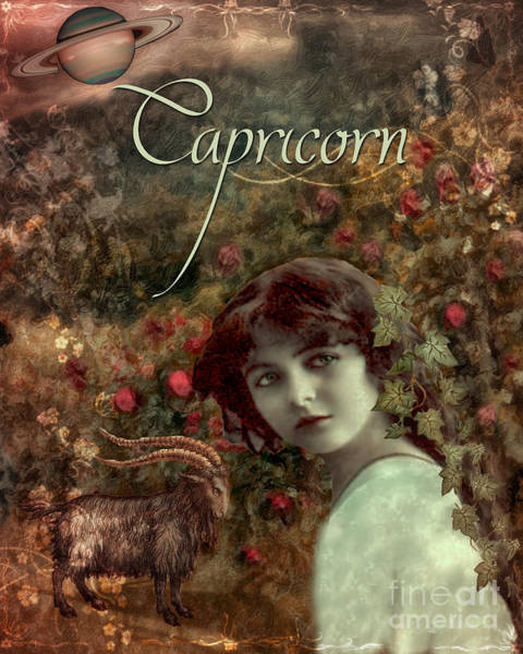 Signs Of The Zodiac Painting - Art Nouveau Zodiac Capricorn by Mindy Sommers