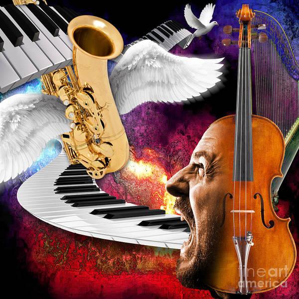 Harp Digital Art - Art Of Singing by Daniela Constantinescu