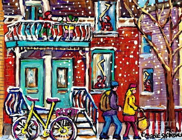 Montreal Canadiens Painting - Art Of Urban Montreal Snowy Street Canadian Winter Scene Painting Carole Spandau                     by Carole Spandau
