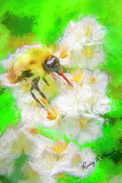 Digital Art - Art Photo Bee On Flower by Rusty R Smith