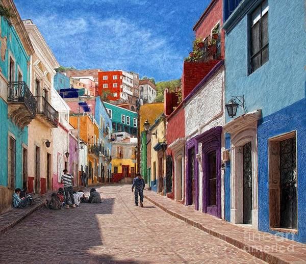 Photograph - Art Students Drawing A Street In Guanajuato by John Kolenberg