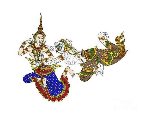 Digital Art - Art Thai On Wall In Temple. Illustration  by Rasirote Buakeeree