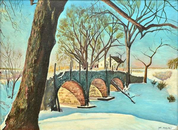 Monticello Painting - Bridge Over Frozen Creek  by John Hall