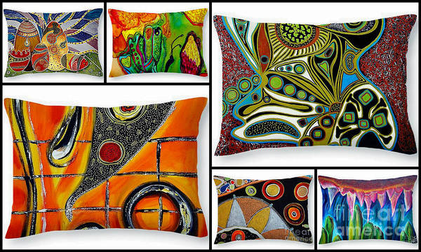 Painting - Artbyjolla Pillow Collage by Jolanta Anna Karolska