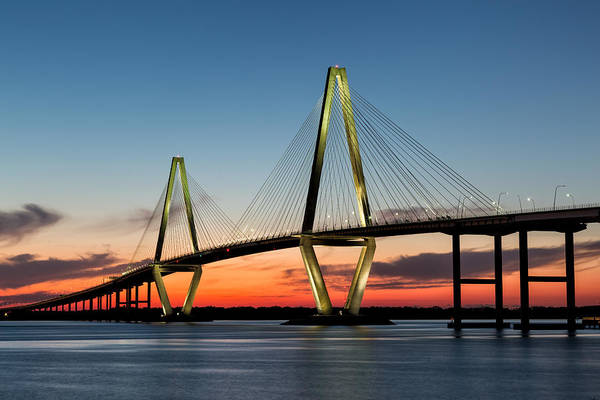 Photograph - Arthur Ravenel Bridge, Charleston At Twilight by Denise Bush