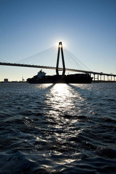 Cable-stayed Bridge Photograph - Arthur Ravenel Bridge Shadows by Dustin K Ryan