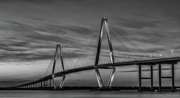 Photograph - Arthur Ravenel Jr Bridge Black And White by Donnie Whitaker