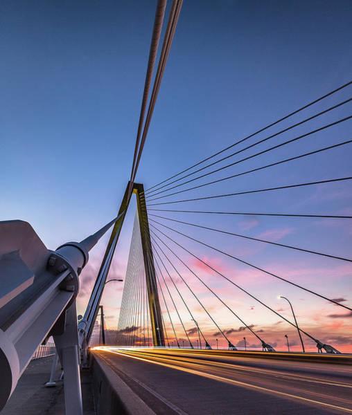 Photograph - Arthur Ravenel Jr. Bridge Light Trails by Donnie Whitaker