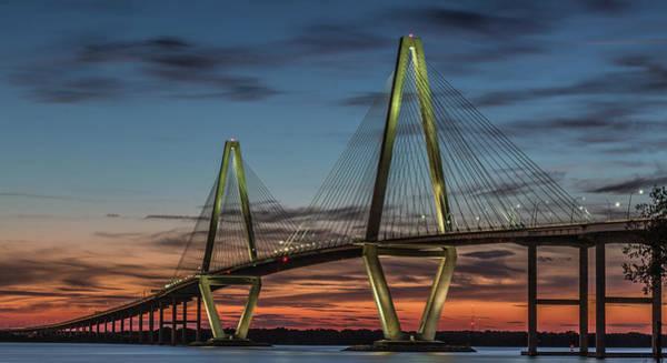 Photograph - Arthur Ravenel Jr. Bridge Of Charleston At Dusk by Donnie Whitaker