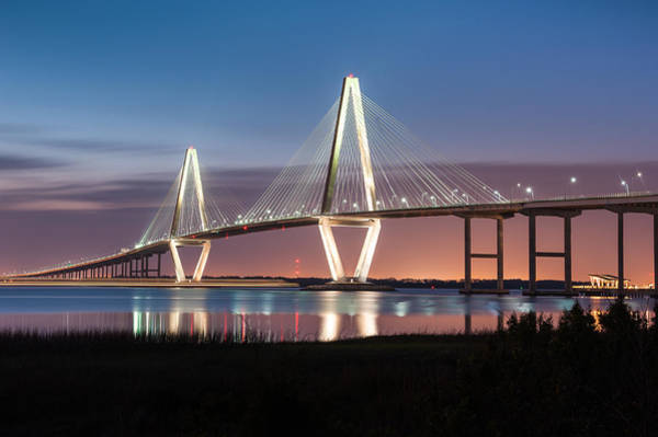 Cable-stayed Bridge Photograph - Arthur Ravenel Jr. Cooper River Bridge Charleston South Carolina by Mark VanDyke