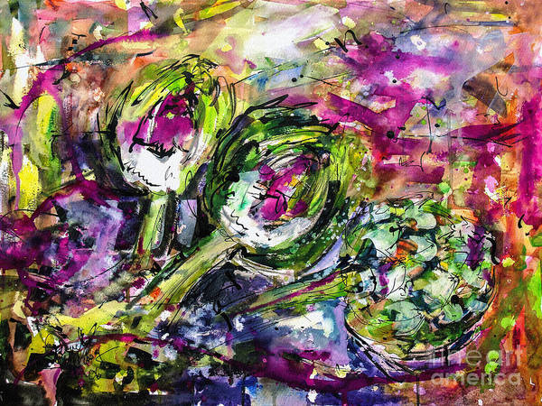 Artichoke Painting - Artichoke Abstract Watercolor And Ink by Ginette Callaway