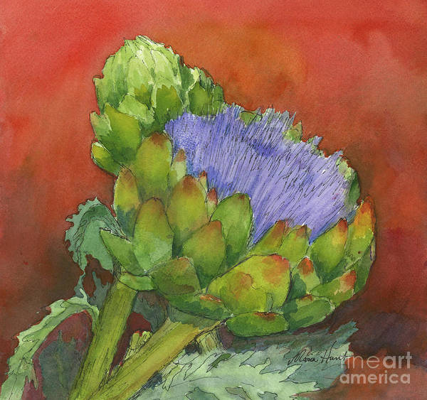 Artichoke Painting - Artichoke Bathed In Red by Maria Hunt