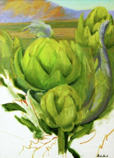 Wall Art - Painting - Artichoke  Unfinished by Maria Hunt